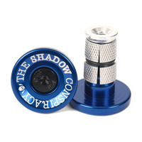 Shadow Deadbolt Alloy Bar Ends, Perma Blue