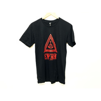 Tempered Triangle Tee, Black/Red. Medium