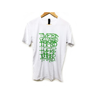 Tempered Font Tee, White/Green Medium *Sale Item*