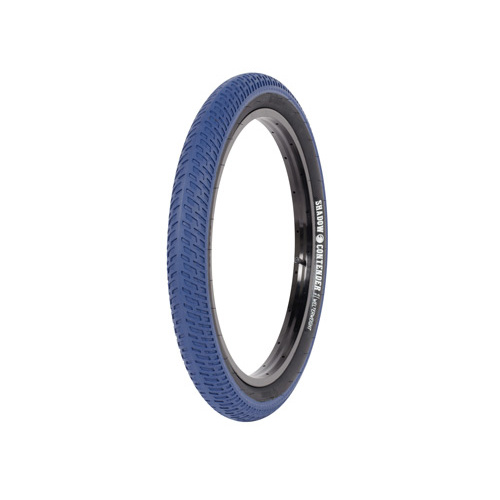 "Shadow Contender Welterweight Tyre, 2.35"" Blue W/Black Walls."