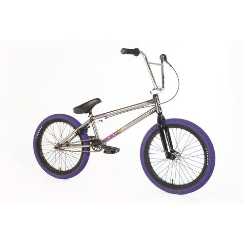 Forgotten Bikes 2018 Hoax Complete Bike, Gloss Raw W/Purple Tyres