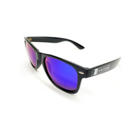 Tempered Sunglasses. Black W/Blue Mirror